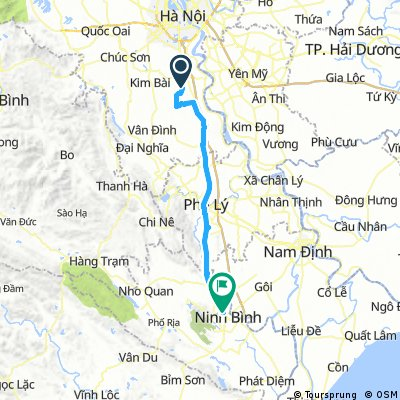 hanoi to ninh binh (forgot to turn on app tikl after maybe 30km)
