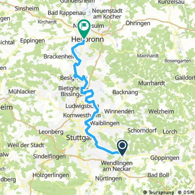 Neckarradweg Karte.Neckartalradweg Von Plochingen Bis Stuttgart Bikemap Deine Radrouten