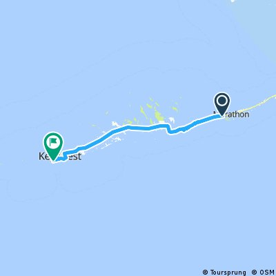 Day 6 FINAL day route. Start 7 mile bridge end Key West