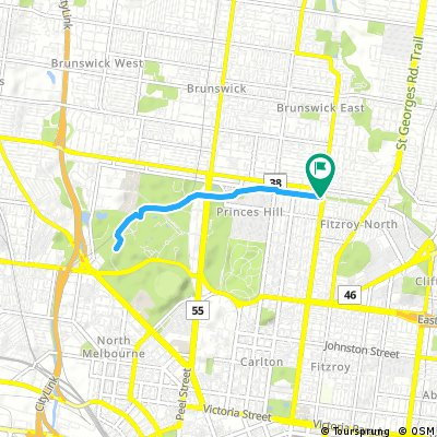 Park St/Nicholson St to Zoo along cycle path