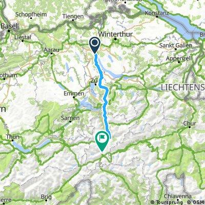 Etape 1  - Zurich  Göschenen  100 km   1600 m