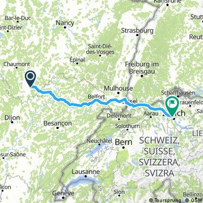 Langres (Culmont)-Zurich -  300 km  1600  m