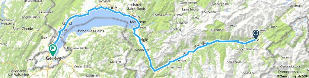 Rhoneradweg: Brig nach Genf