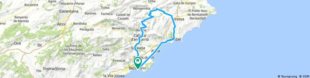 Map Of Spain Benidorm.Benidorm Benidorm 88 Bikemap Your Bike Routes