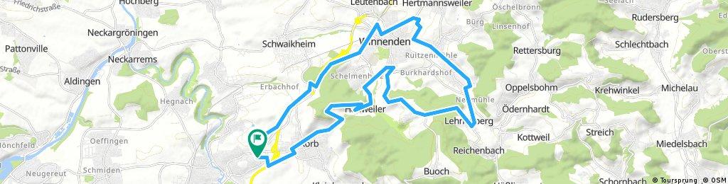 Waiblingen über Winnenden und Hanweiler (RR)