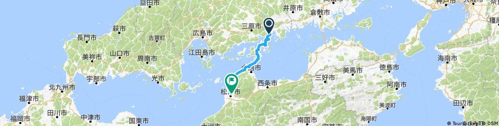 尾道(Onomichi) to 道後温泉 (Dogo-Onsen)