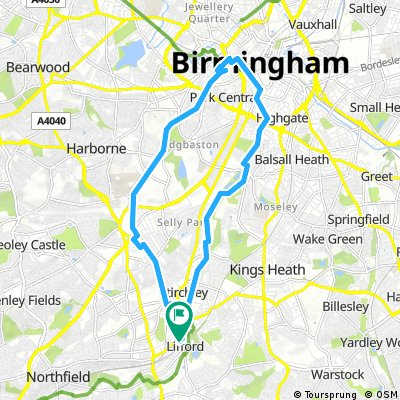 Circular route to birmingham via cycle network & canals