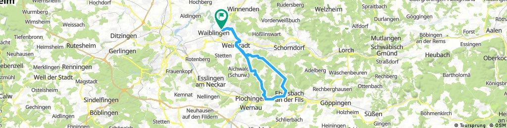 Waiblingen über Schnait - Baltmannsweiler - Reichenbach - Manolzweiler