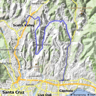 Scotts Valley to Soquel via Mtn View Rd