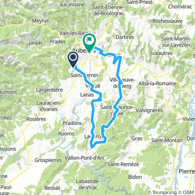 Long bike tour from Saint-Sernin to Aubenas