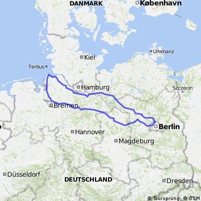 Berlin - Cux-Schleife (870 km) mit Übernachtung