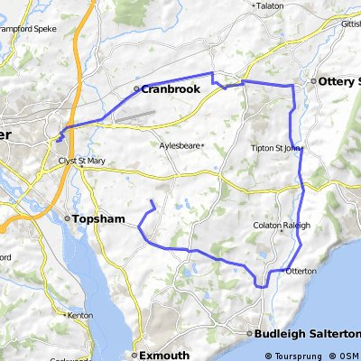 Exeter to Woodbury Salterton, the long way round