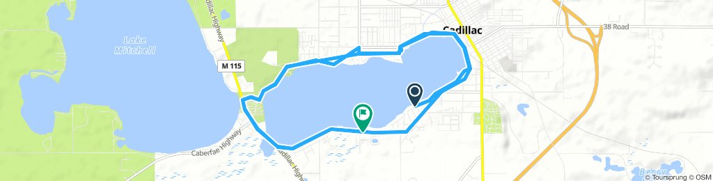 Moderate Thursday Ride In Cadillac twice around lake