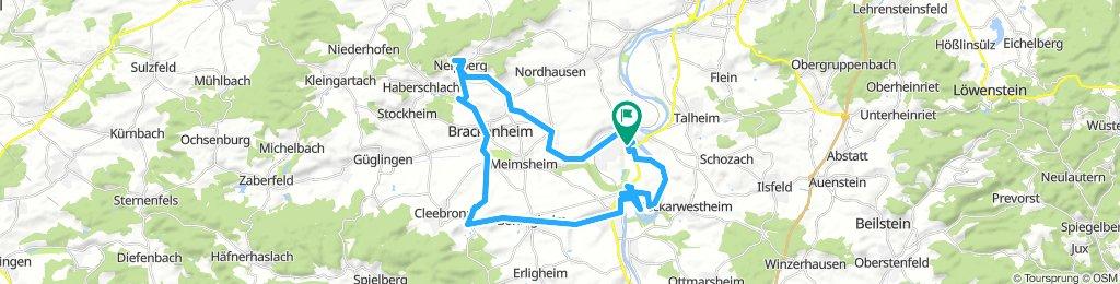 Lauffen - Obsthalle - Kirchheim - Bönnigheim - Tripsdrill - Botenheim - Brackenheim - Neipperg - Dürrenzimmern - Hausen - Lauffen