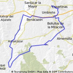 Monasterio El Loreto (Espartinas) - pista aeromodelismo (Benacazon) - aerodromo (Bollullos Mitacion)- Vado del Quema (Aznalcazar) - Corredor Verde - Sanlucar La