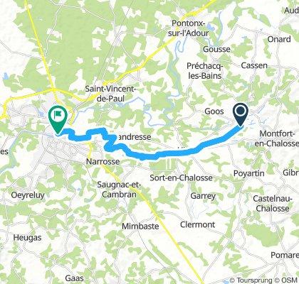 retour Gamarde-Les-Bains -Dax voie verte