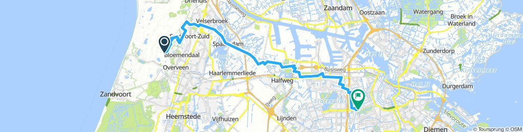 bike tour from Overveen to Amsterdam
