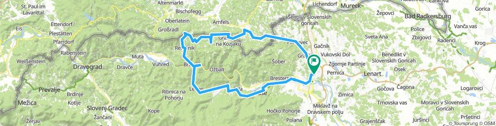 Košaki - Jurij - Remschnigg-Arnfels - Zg.Kapla - Pongrac - Remšnik - Brezno - Podvelka - Lehen - Činžat - Ruše - MB