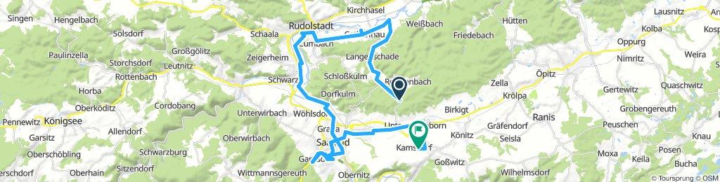 Lange Radrunde von Unterwellenborn nach Kamsdorf