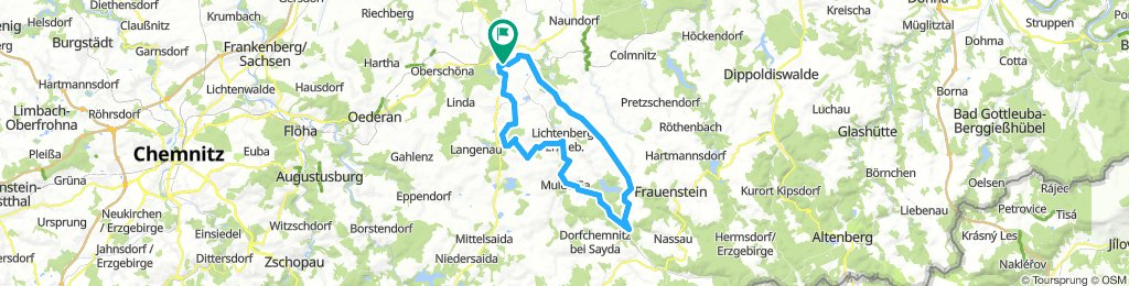 52 km FG - Erzengler - Müdisdorf - Weigmannsdorf - Lichtenberg - Mulda - Dittersbach - Burkersdorf - Weißenborn - Rosine