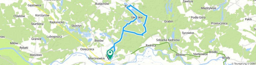 trasa na niedzielę 33 km po lesie