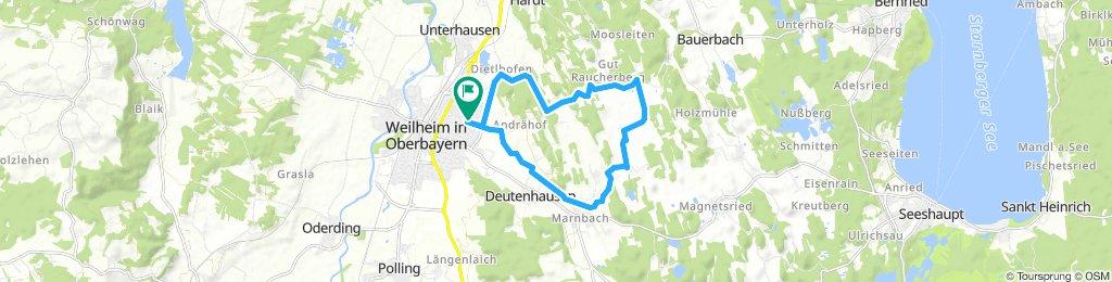 Ausfahrt durch Weilheim in Oberbayern