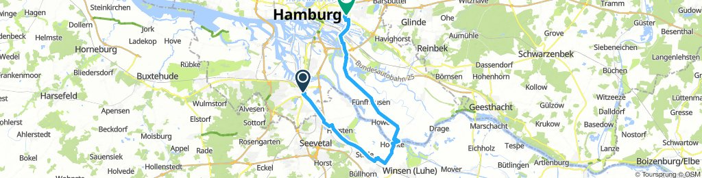 Harburg nach Hoopte mit der Fähre nach Zollenspieker und dann über Ta