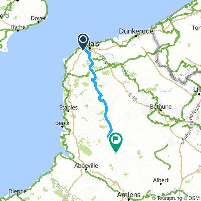 Tour Day 1 (v. lanes) Calais to Beauvoir-Wavans