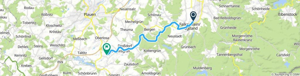 von Ellefeld über die Bahnstrecke Falkenstein nach Oelsnitz