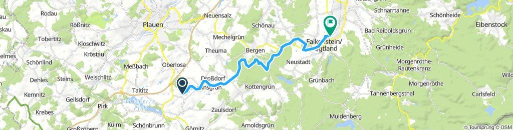 von Oelsnitz über Bahnweg Falkenstein nach Ellefeld