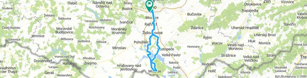 Brno(Poříčí) - Nosislav - Mikulov, Mariánský lom - Iváň- Horní Heršpice
