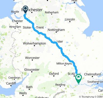 Total Route Warrington to Little Portland St