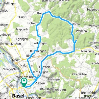 Basel Langen Erle-Riehen-Weil-Binzen-Kandern-Scheideck-Schlächtenhausen-Steinen-Lörrach-Langen Erle