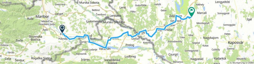 Római útvonalak mentén: Ptuj - Ormož – Letenye – Becsehely – Sormás – Nagykanizsa– Zalakomár– Somogyzsitfa