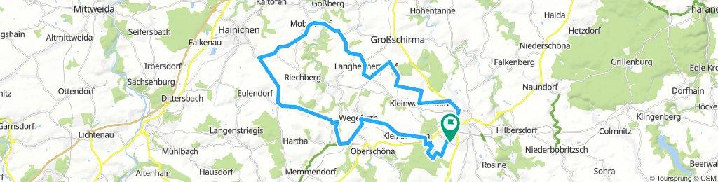 46 km FG - Kleinwaltersdorf - Langhennersdorf - Nobendorf - Cunnersdorf - Bockendorf - Wingendorf - Frankenstein - Wegefarth - Kleinschirma - Stadtwald