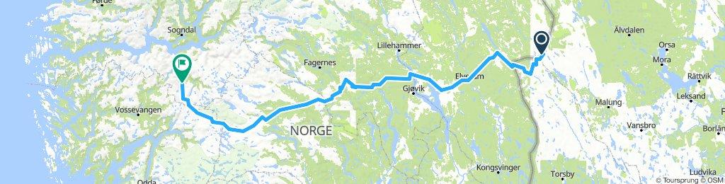 Norwegen Grenze - Hamar - Flam