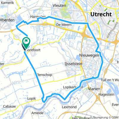 Montfoort A'Dam-rijnkanaal en Leidsrijn 48km