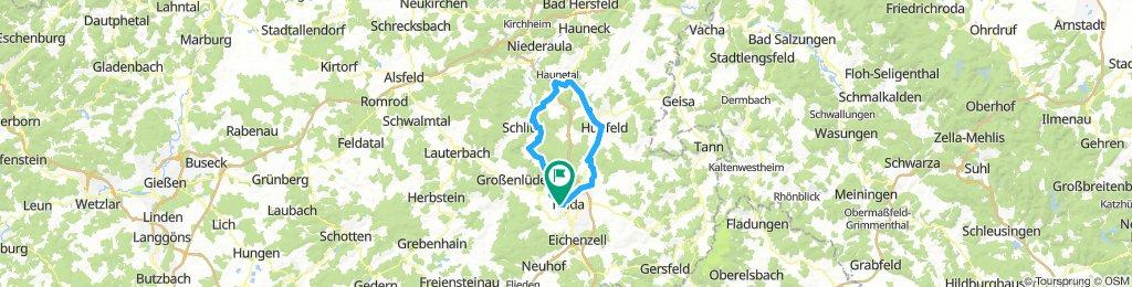 Fulda - Schlitz - Haunetal - Hünfeld - Haunestausee - Fulda