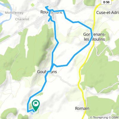jour 7 (30.06.2018): Camping Bois du Reveuge a Gouhelans a Gondenans-les-Moulins a Rougemont a Gouhelans a Camping Bois du Reveuge