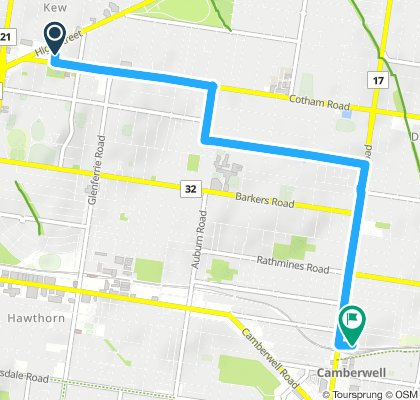 Kew to Camberwell Back streets