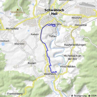 Leichte Kurzstrecke, größtenteils auf dem Radweg neben der B19