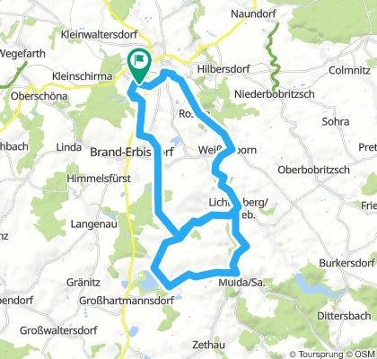 43 km FG - Erzengler See - Müdisdorf - Weigmannsdorf - Lichtenberg - Helbingsdorf - Großhartmannsdorf - Müdisdorf - Weigmannsdorf - Weißenborn - Rosine