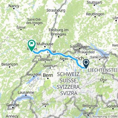 Siebnen Belfort 215 km  1100 m  (225 km pour moi)