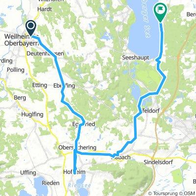 Lange Radrunde von Weilheim in Oberbayern nach Münsing