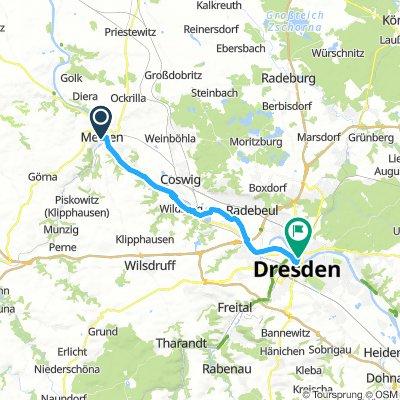 Linkselbisch von Meissen nach Dresden (Goldener Reiter)