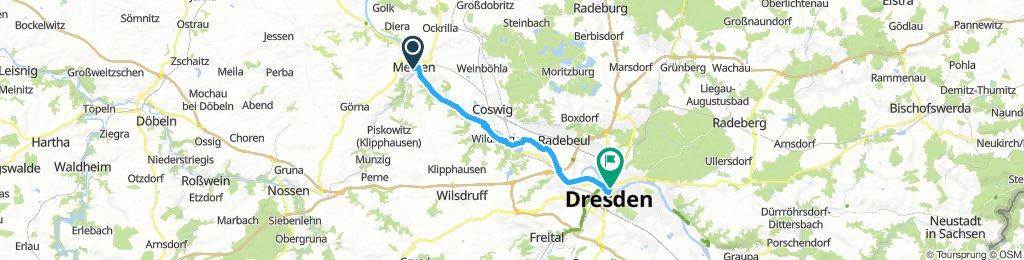 Linkselbisch von Meißen nach Dresden (Goldener Reiter)