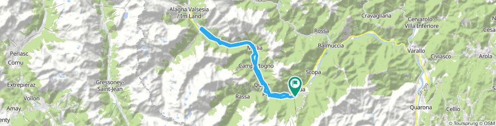 sentiero ciclabile Val Sesia, da Scopello a Riva, ritorno su strada