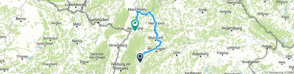 Neckartalradweg Sulz über Mannheim nach Karlsruhe