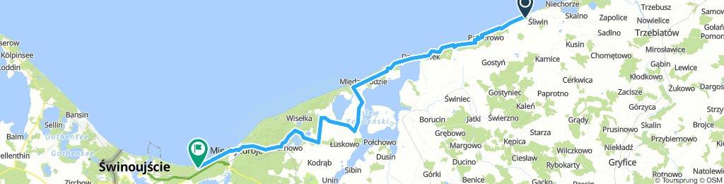 5) Rewal bis Swinemünde (59 Km) Achtung ! Nur wenig Rastmöglichkeiten !