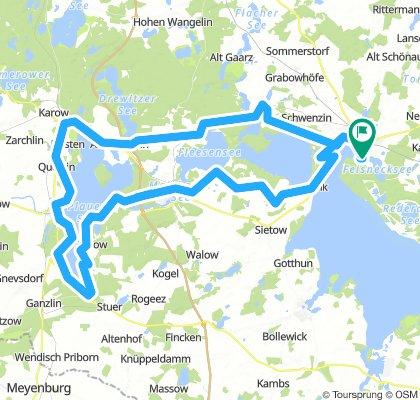 4) Tour um Plauer See (103 Km) bzw. mit dem Schiff ab Plau am See zurück, dann nur ca 65 Km